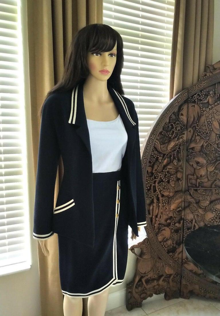 Black Vintage Chanel 1990's Navy & Ivory Grosgrain Jacket & Skirt Suit FR 34/ US 2 4
