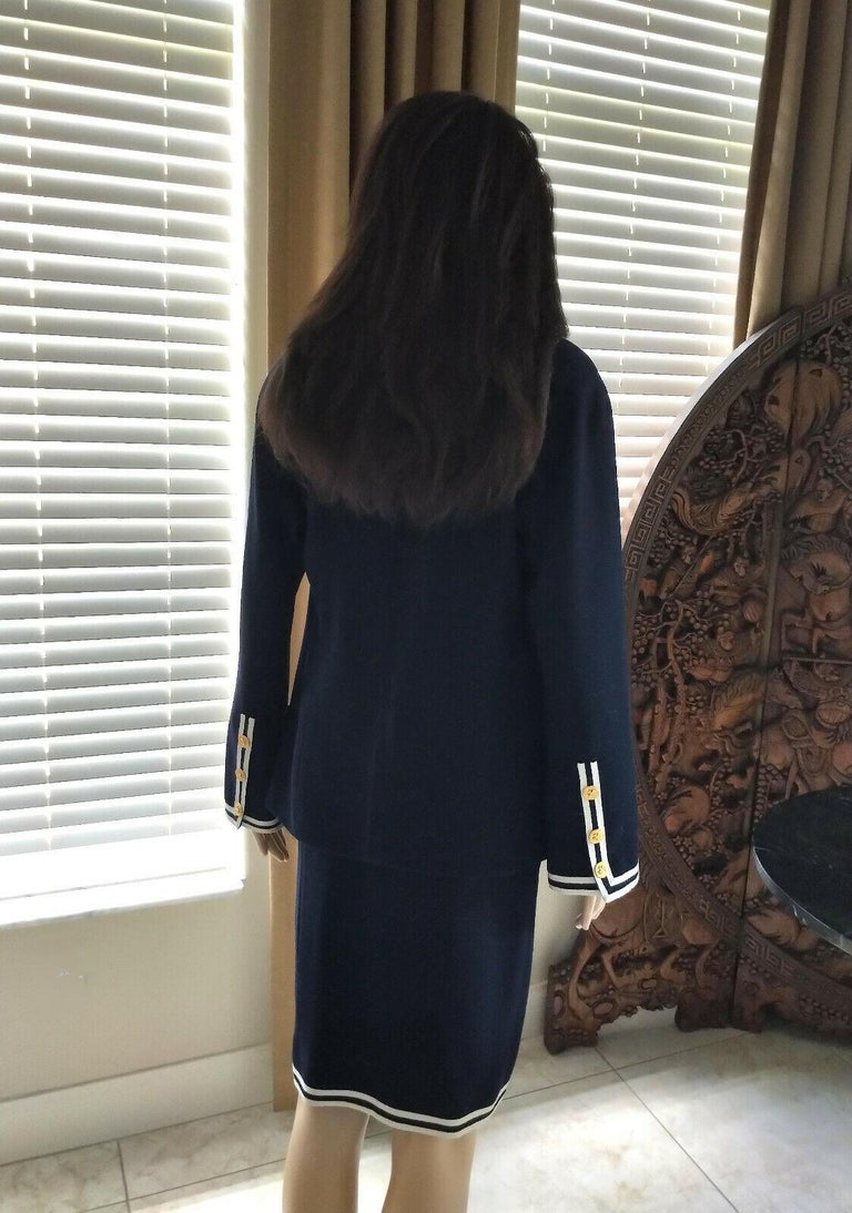 Vintage Chanel 1990's Navy & Ivory Grosgrain Jacket & Skirt Suit FR 34/ US 2 4 In Excellent Condition In Ormond Beach, FL