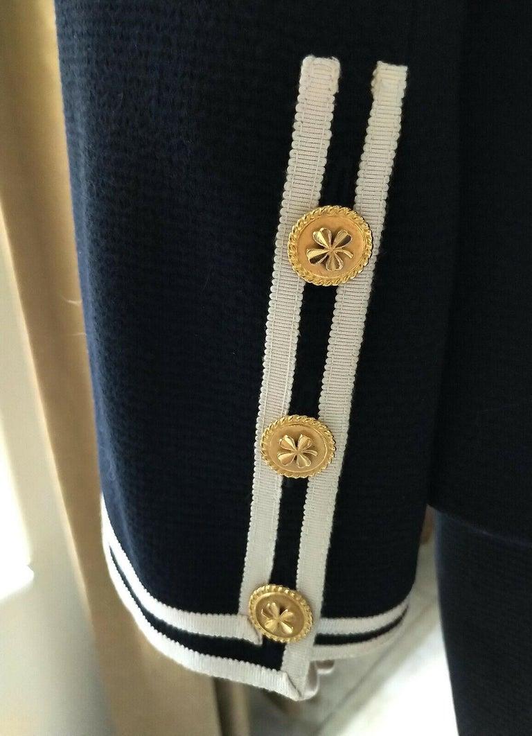 Vintage Chanel 1990's Navy & Ivory Grosgrain Jacket & Skirt Suit FR 34/ US 2 4 1