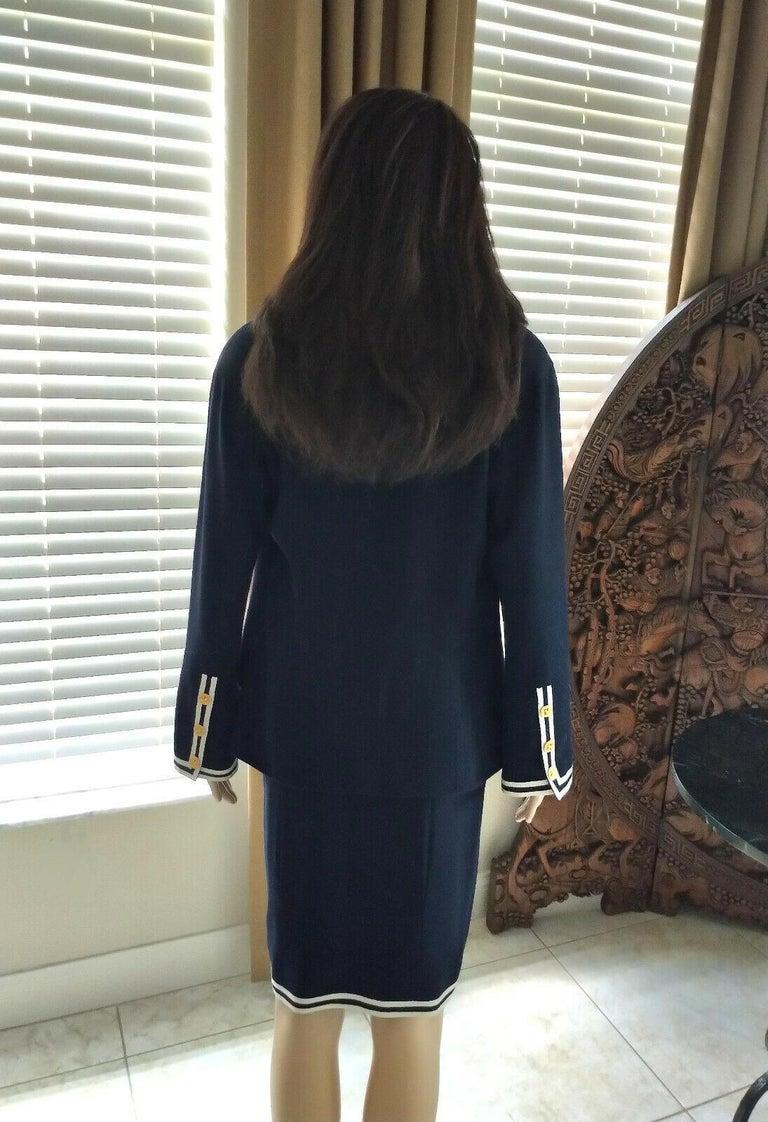 Women's Vintage Chanel 1990's Navy & Ivory Grosgrain Jacket & Skirt Suit FR 34/ US 2 4