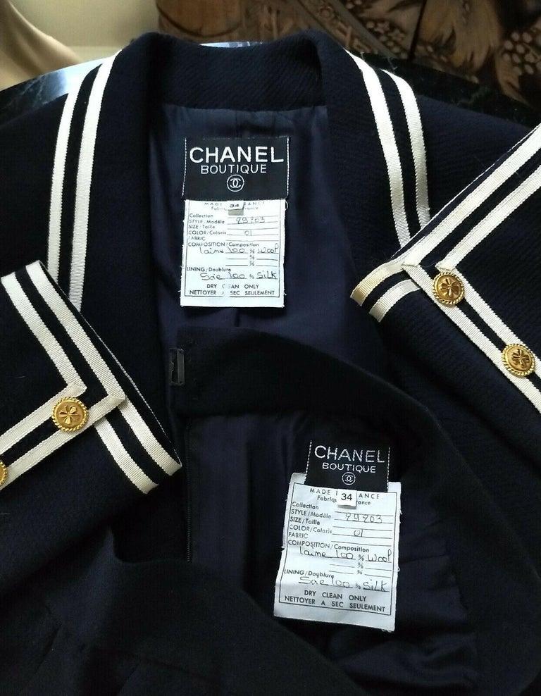 Vintage Chanel 1990's Navy & Ivory Grosgrain Jacket & Skirt Suit FR 34/ US 2 4 4