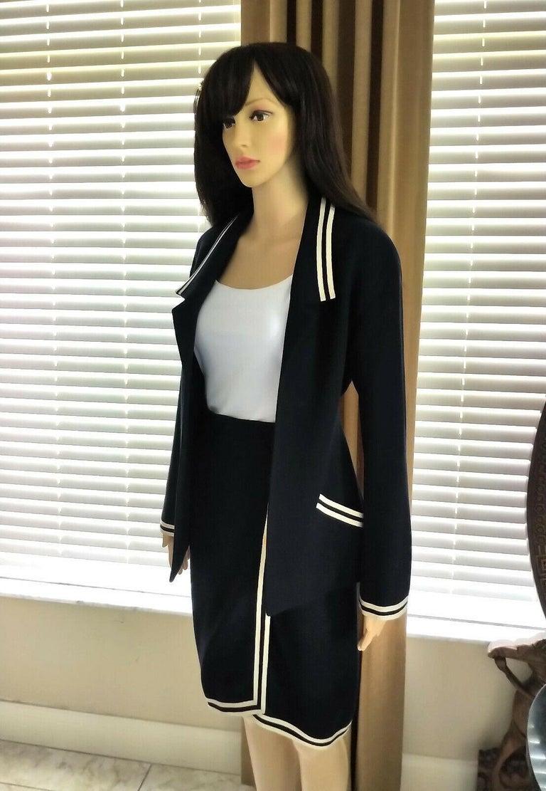 Vintage Chanel 1990's Navy & Ivory Grosgrain Jacket & Skirt Suit FR 34/ US 2 4 3