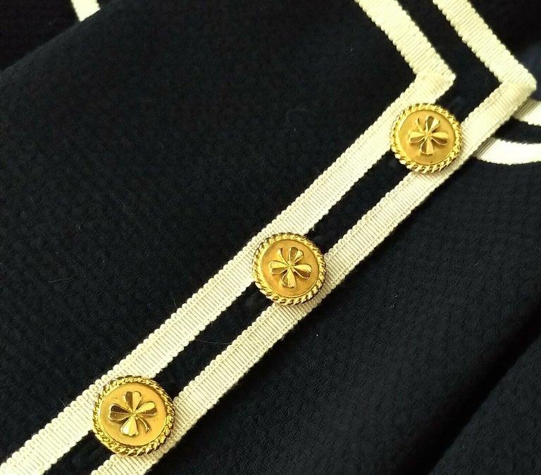 Vintage Chanel 1990's Navy & Ivory Grosgrain Jacket & Skirt Suit FR 34/ US 2 4 5