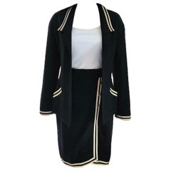 Vintage Chanel 1990's Navy & Ivory Grosgrain Jacket & Skirt Suit FR 34/ US 2 4