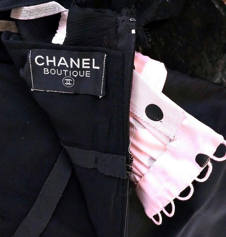 Vintage Chanel 1990's Pink & Black Polka Dot Lace & Taffeta Dress FR 38/ US 6 For Sale 7