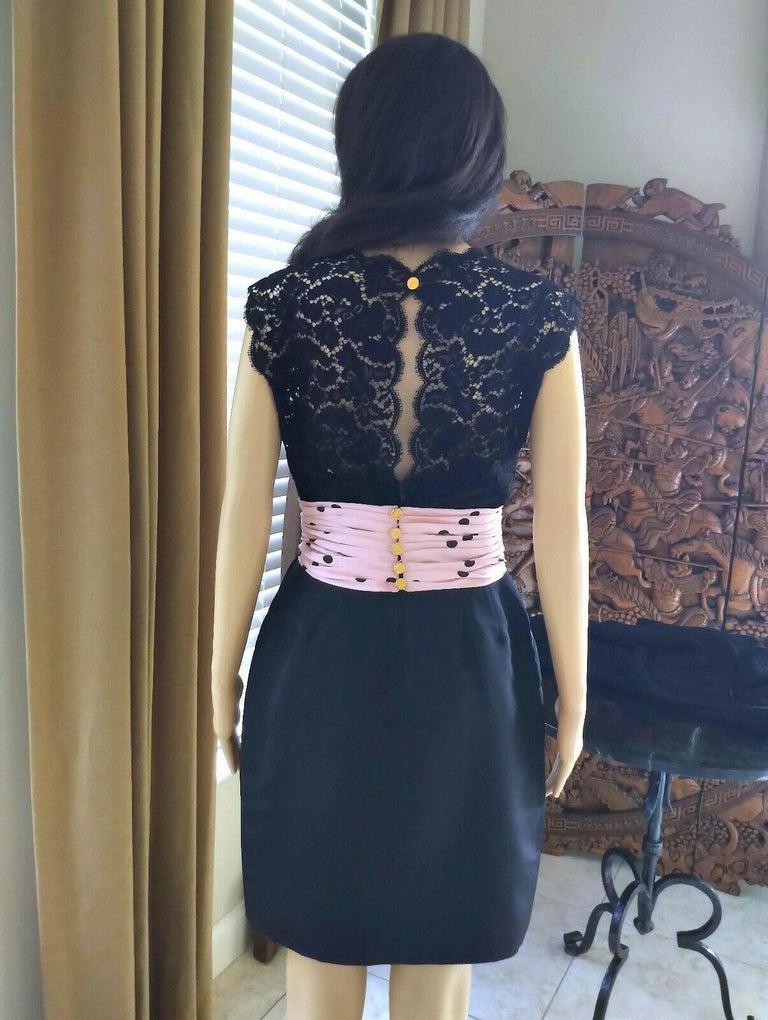 Vintage Chanel 1990's Pink & Black Polka Dot Lace & Taffeta Dress FR 38/ US 6 For Sale 3