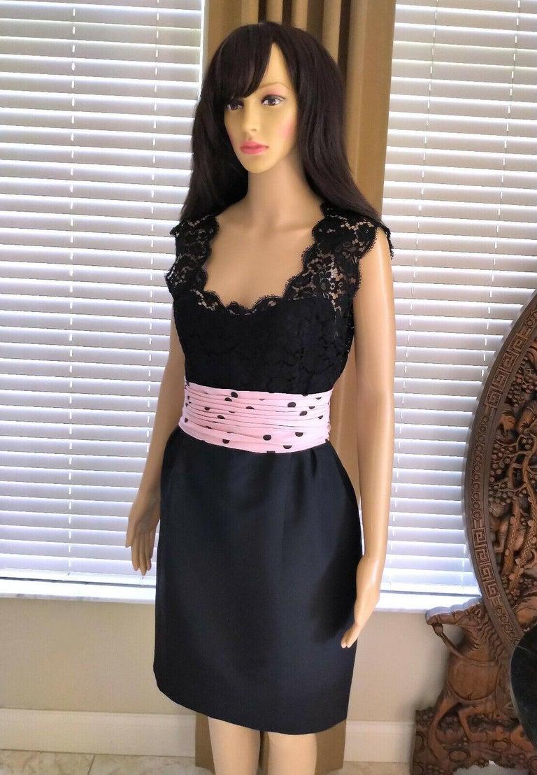 Vintage Chanel 1990's Pink & Black Polka Dot Lace & Taffeta Dress FR 38/ US 6 For Sale 6
