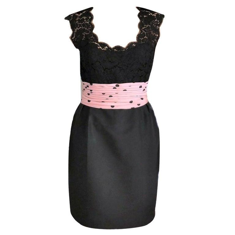 Vintage Chanel 1990's Pink & Black Polka Dot Lace & Taffeta Dress FR 38/ US 6 For Sale