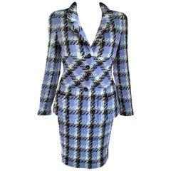 Vintage Chanel 1995 95P Lavender Blue Fantasy Tweed Jacket Skirt Suit FR 38 US 6