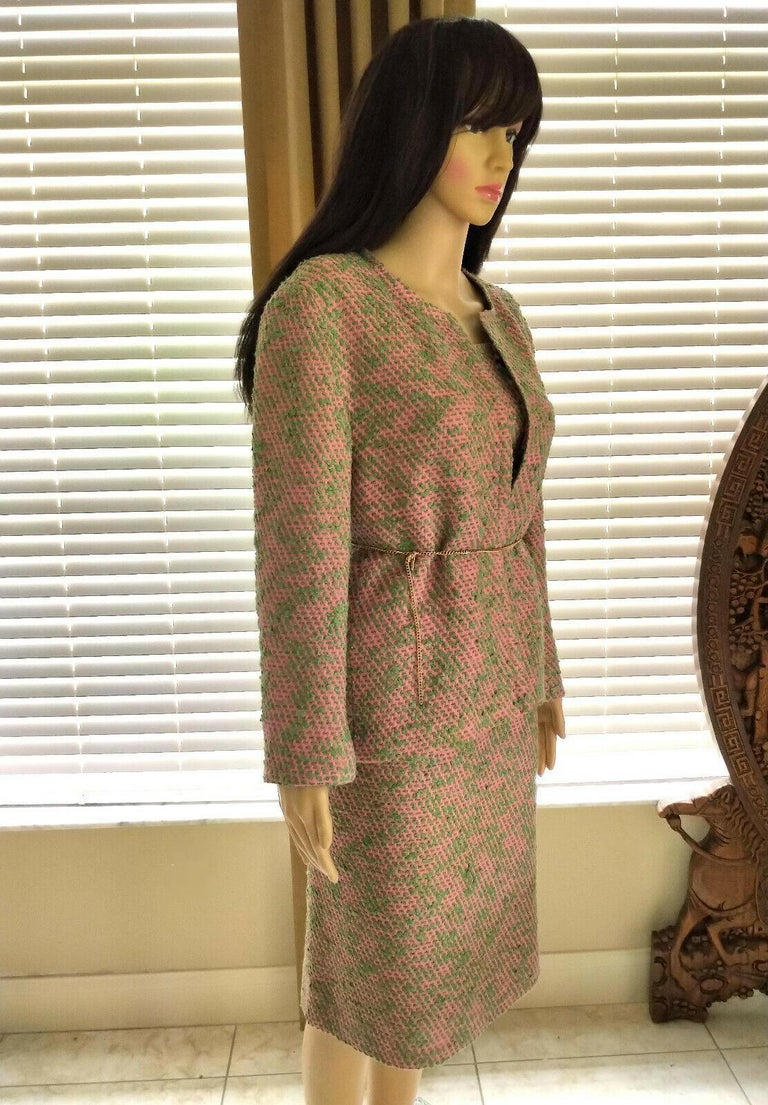 Women's Vintage Chanel 1999 99A 3 Pc Pink & Multi Color Tweed Jacket Suit FR 44/ US 10  For Sale