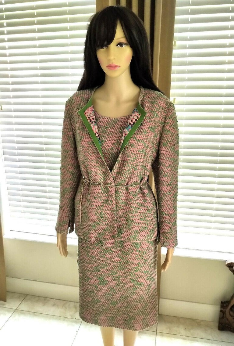Vintage Chanel 1999 99A 3 Pc Pink & Multi Color Tweed Jacket Suit FR 44/ US 10  For Sale 3
