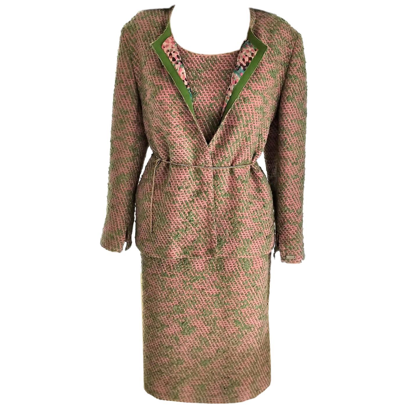 Vintage Chanel 1999 99A 3 Pc Pink & Multi Color Tweed Jacket Suit FR 44/ US 10