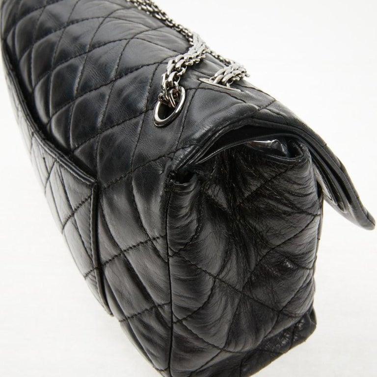 Vintage Chanel 2.55 Black Leather Handbag  For Sale 7