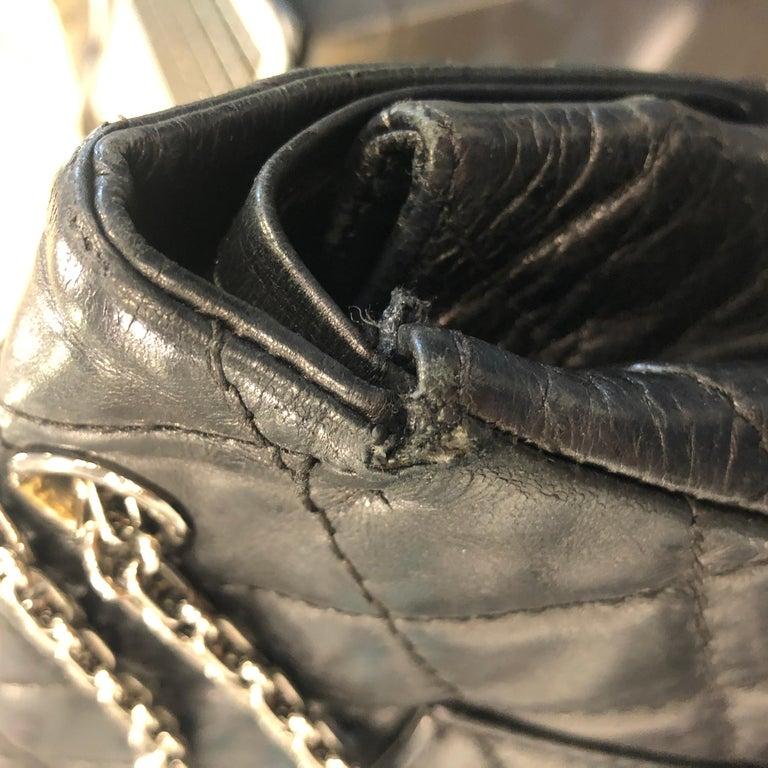 Vintage Chanel 2.55 Black Leather Handbag  For Sale 9