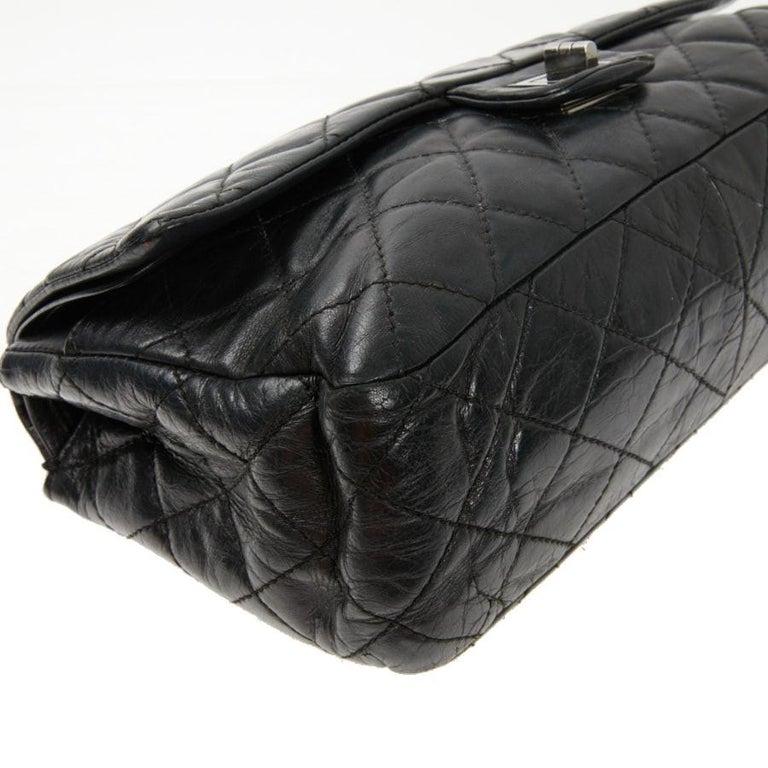 Women's Vintage Chanel 2.55 Black Leather Handbag  For Sale