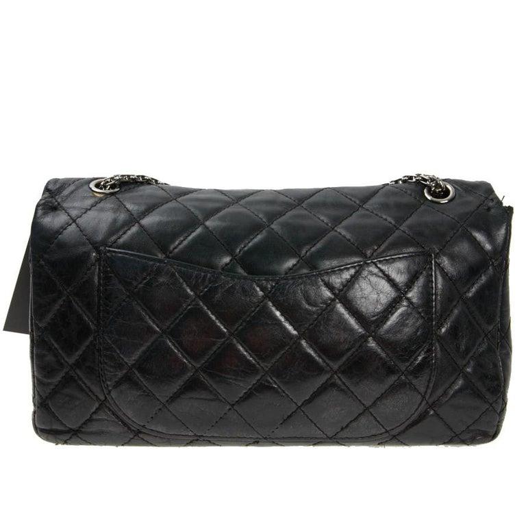 Vintage Chanel 2.55 Black Leather Handbag  For Sale 2