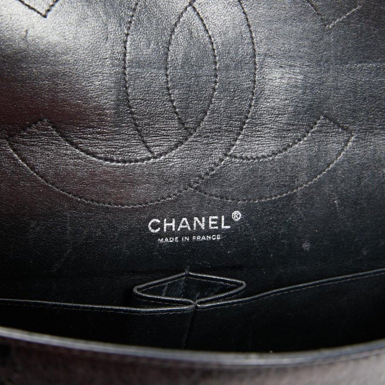 Vintage Chanel 2.55 Black Leather Handbag  For Sale 4