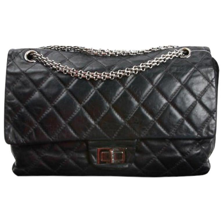 Vintage Chanel 2.55 Black Leather Handbag  For Sale