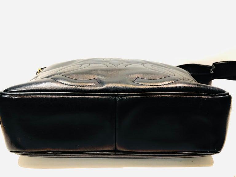 Vintage Chanel 28cm Navy Lambskin Triple CC Camera Shoulder Bag   For Sale 5