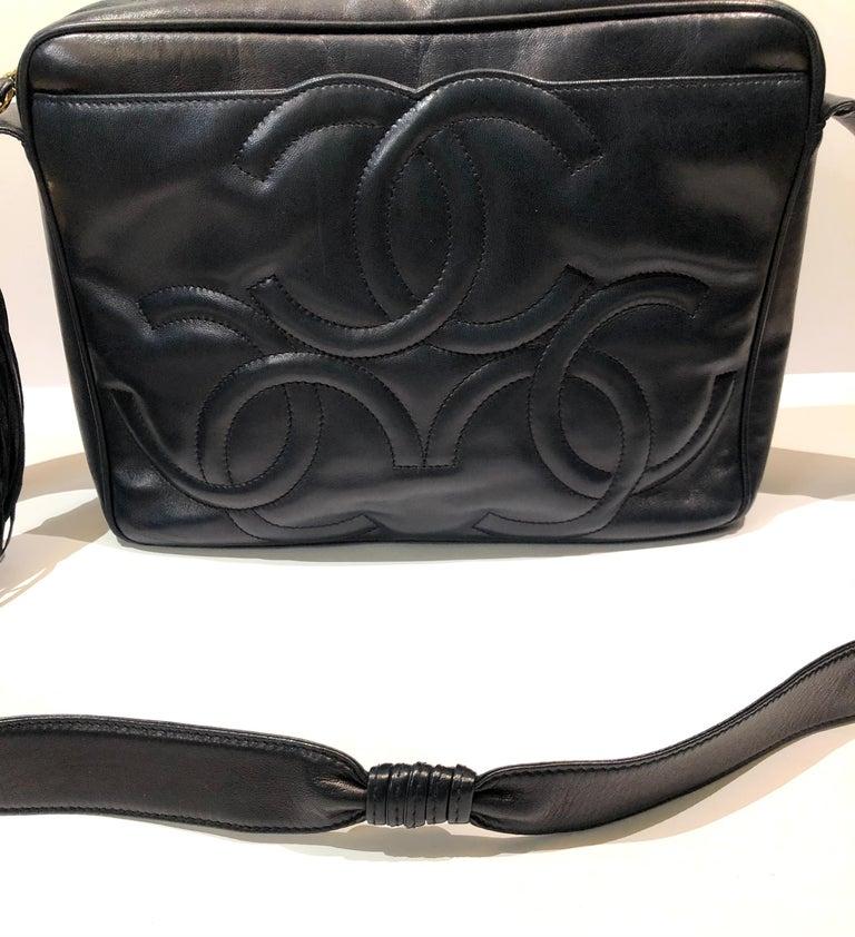 Vintage Chanel 28cm Navy Lambskin Triple CC Camera Shoulder Bag   For Sale 6