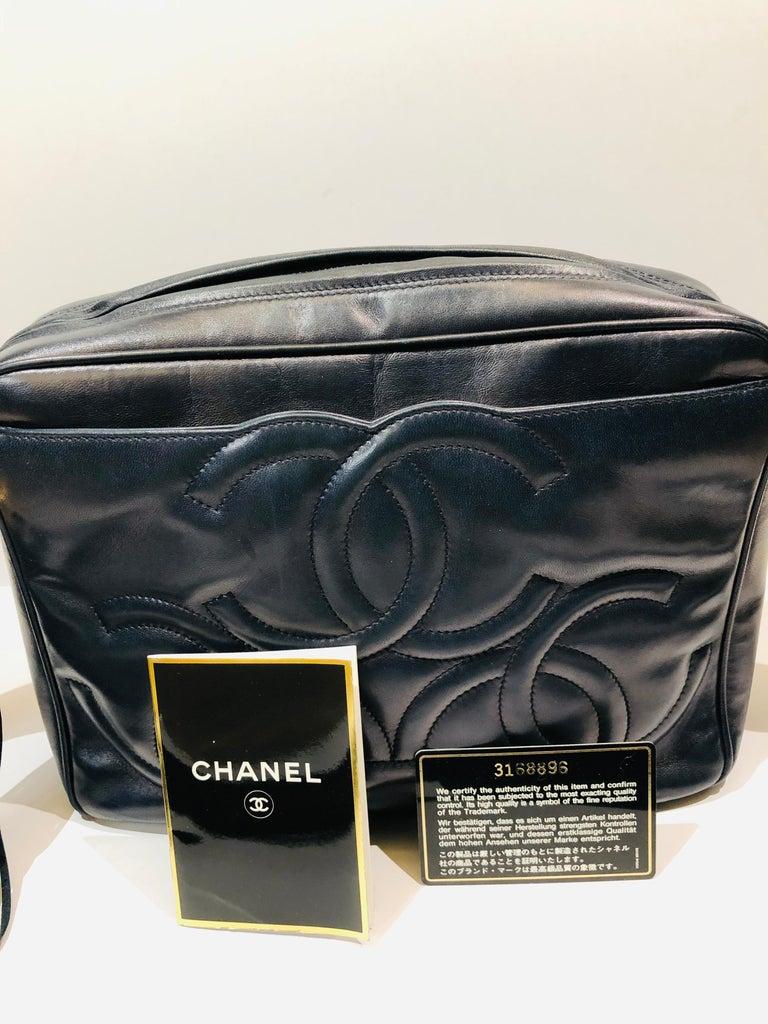 Vintage Chanel 28cm Navy Lambskin Triple CC Camera Shoulder Bag   For Sale 7