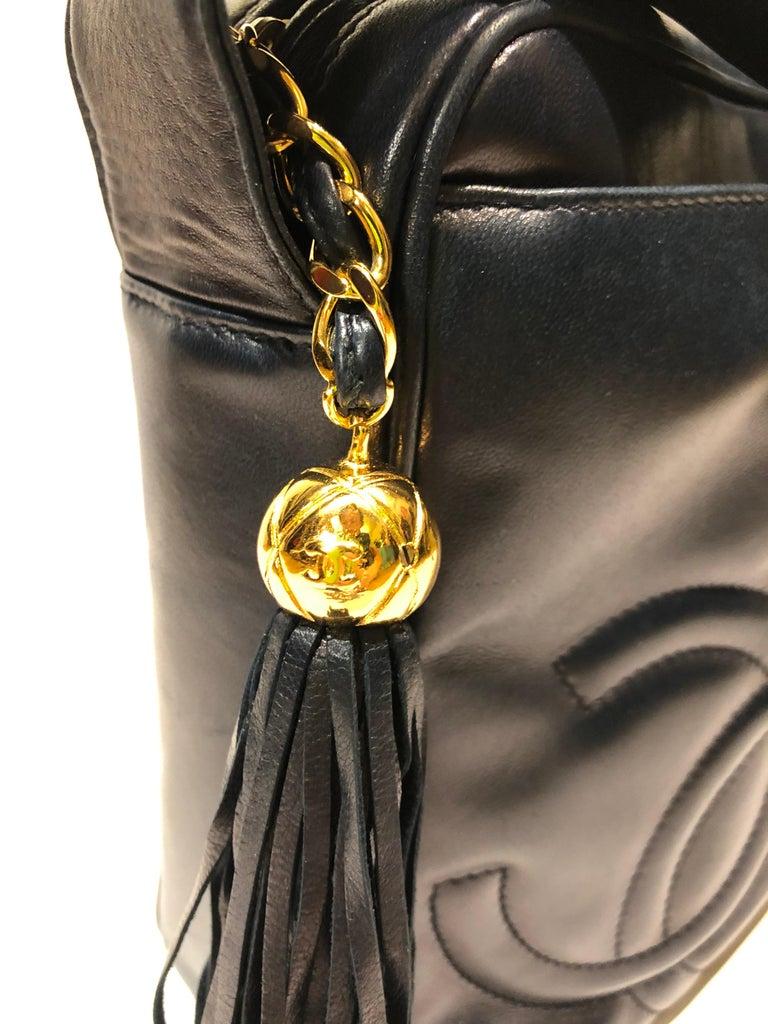 Black Vintage Chanel 28cm Navy Lambskin Triple CC Camera Shoulder Bag   For Sale
