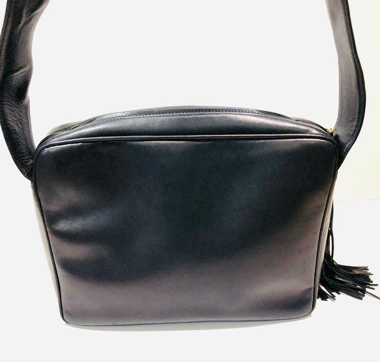 Women's or Men's Vintage Chanel 28cm Navy Lambskin Triple CC Camera Shoulder Bag   For Sale