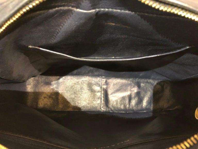 Vintage Chanel 28cm Navy Lambskin Triple CC Camera Shoulder Bag   For Sale 3