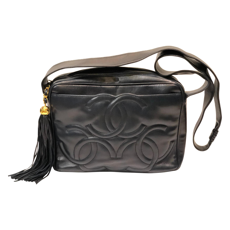 Vintage Chanel 28cm Navy Lambskin Triple CC Camera Shoulder Bag