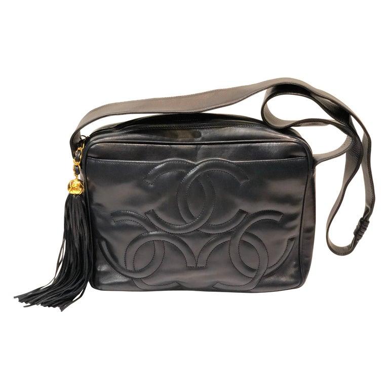 Vintage Chanel 28cm Navy Lambskin Triple CC Camera Shoulder Bag   For Sale