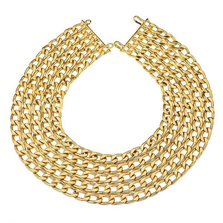 Vintage Chanel 5 Row Chain Necklace  In Excellent Condition In Chicago, IL