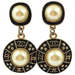 Vintage Chanel Almost 3 Inch Long Black Enamel, Faux Pearl Rhinestone Earrings