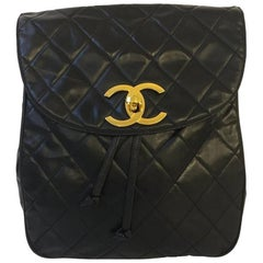 Vintage Chanel Backpack Caviar Leather with gold hardware