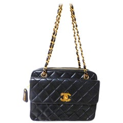Vintage Chanel bag black quilted lambs skin, 1995s