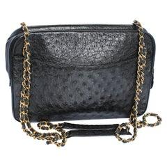Vintage Chanel Large Camera Bag Black Exotic Ostrich Shoulder Bag