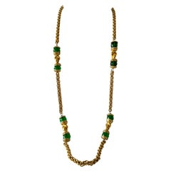 Vintage Chanel Baroque Gilt Emerald and Strass Diamante Statement Necklace