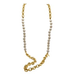 Vintage Chanel Baroque Pearl & Chunky Chain Necklace 1980s
