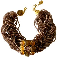Vintage Chanel Beaded Multi Strand Gold Intaglio Statement Necklace