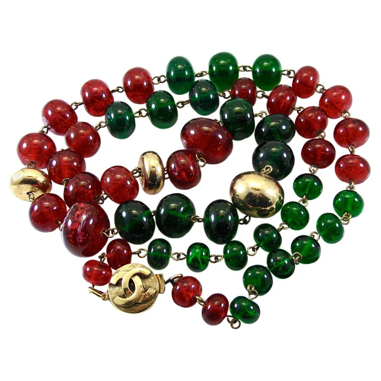 Vintage Chanel Beaded Necklace Red & Green Poured Glass Goossens 1970s