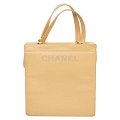 Vintage CHANEL Beige Lambskin Tote Bag