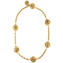 Vintage Chanel Belt Buckle 1980s Chain Link CC Logo Sunburst Yellow Gold Tone