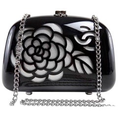 Vintage Chanel Black Acrylic Silver Leather Camellia Minaudiere Bag