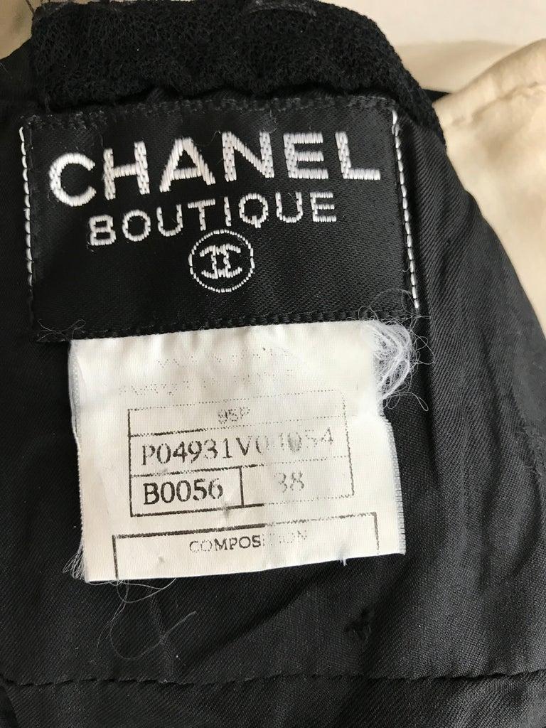 Vintage Chanel Black and White Halter Maxi Dress For Sale 7