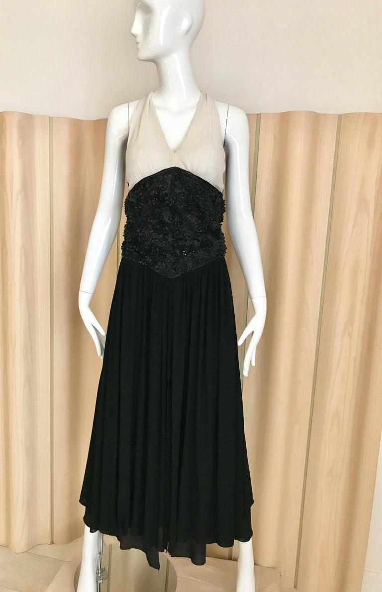 1990s CHANEL black and white V neck halter maxi dress. Size: 4 / small