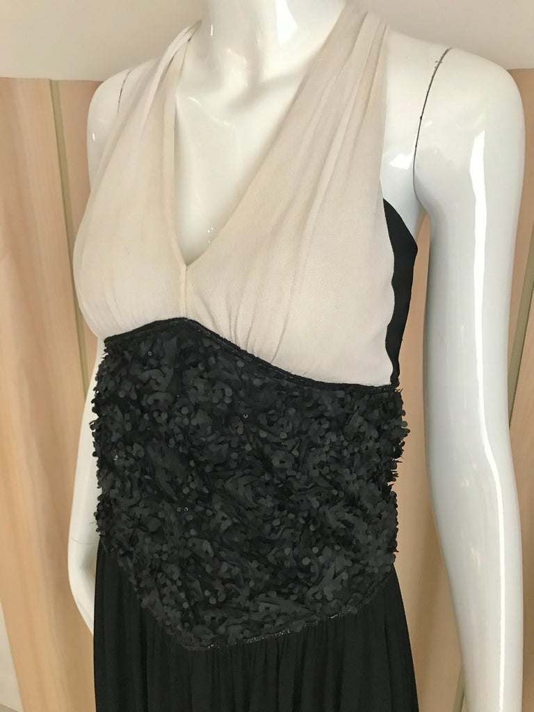 Women's Vintage Chanel Black and White Halter Maxi Dress For Sale
