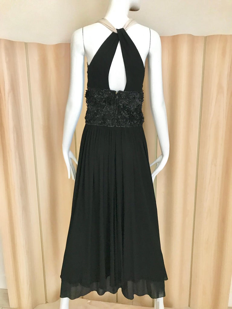 Vintage Chanel Black and White Halter Maxi Dress For Sale 2