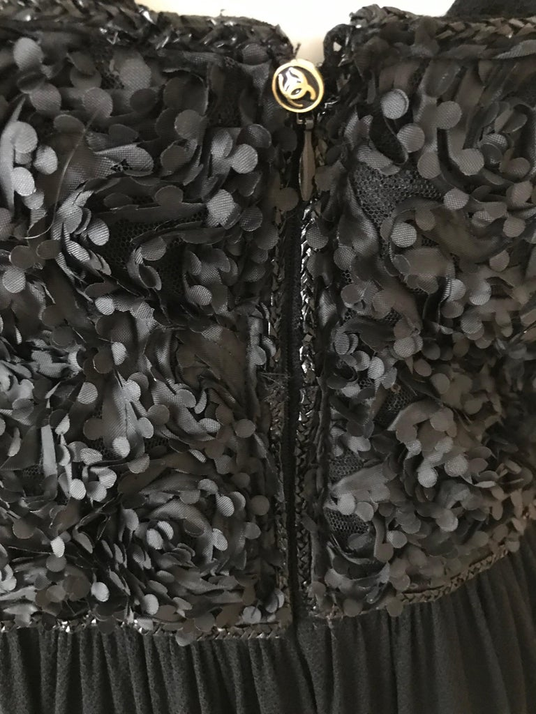 Vintage Chanel Black and White Halter Maxi Dress For Sale 5