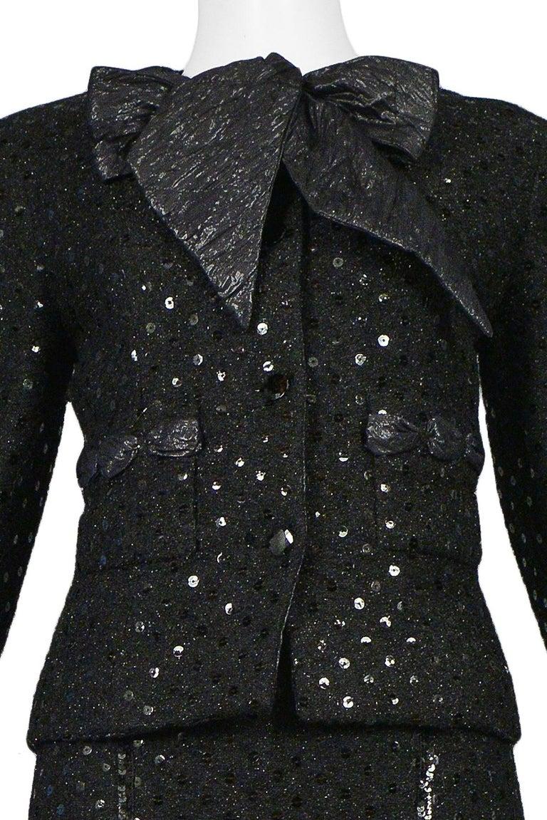 Women's Vintage Chanel Black Boucle Sequin Skirt Suit Ensemble For Sale