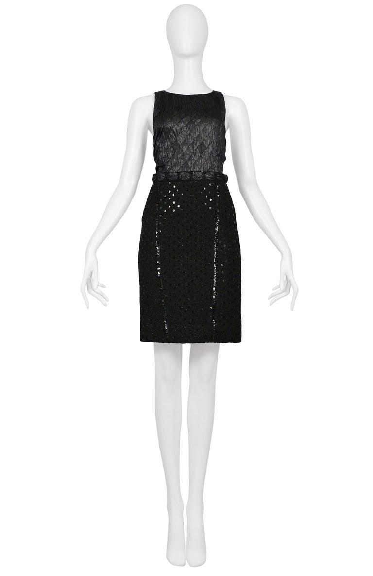 Vintage Chanel Black Boucle Sequin Skirt Suit Ensemble For Sale 2