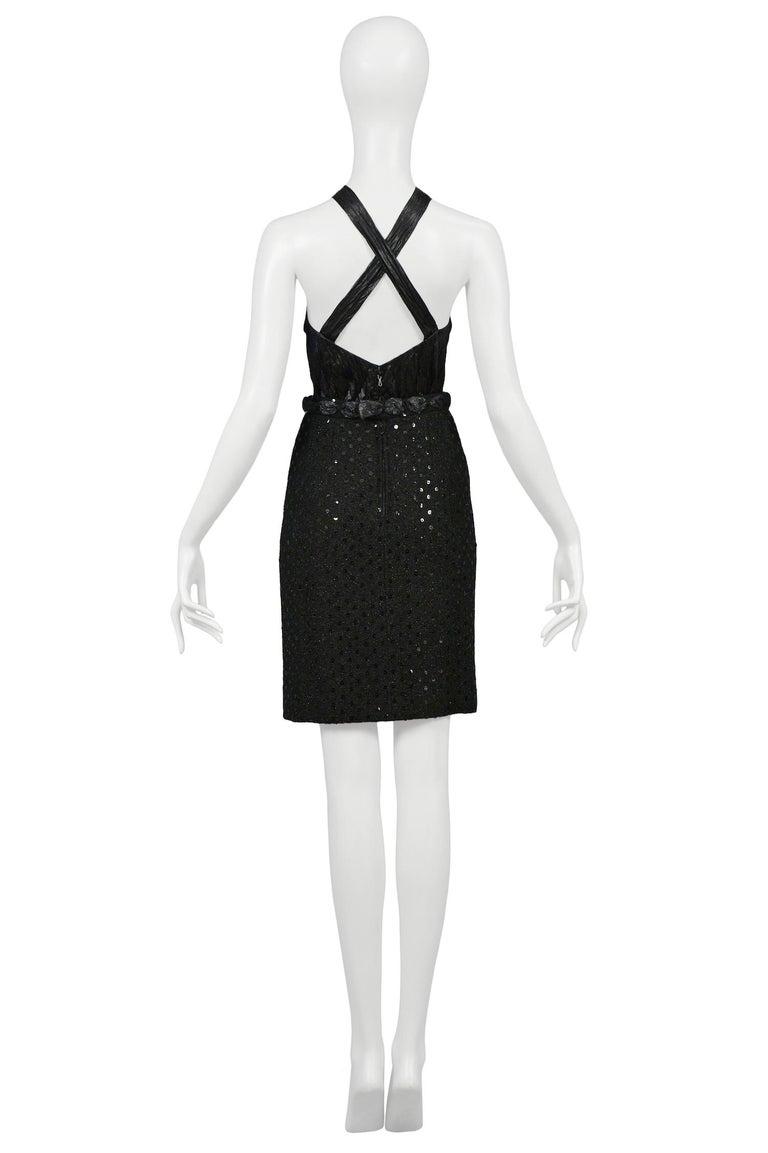 Vintage Chanel Black Boucle Sequin Skirt Suit Ensemble For Sale 3